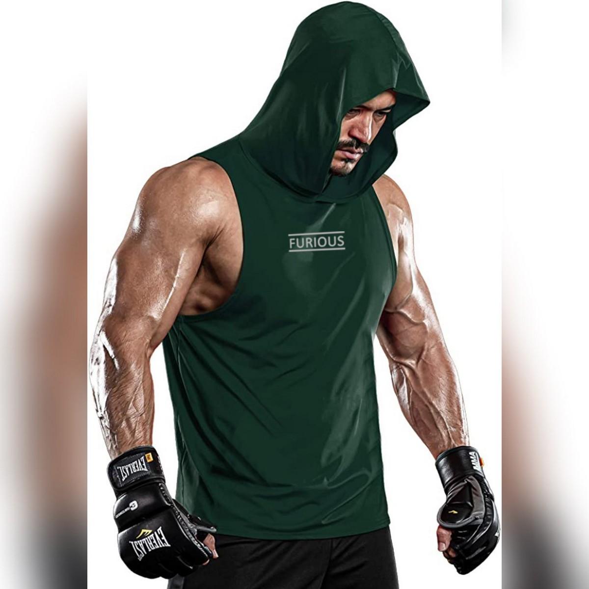 Men's Fitness Gym Muscle Bodybuilding Sleeveless Hoodies Tank Top  Gym Sandos for Men Sleeveless Hooded Tank Top  Cut off T shirt Sleeveless for Men Casual wear T shirt sleeveless for Men Top   Fashion Wear Shirt Hoodie Sleeveless Men T shirt for Men