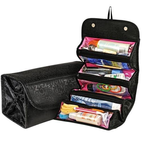 Roll N Go Cosmetic Bag - Pink & Black