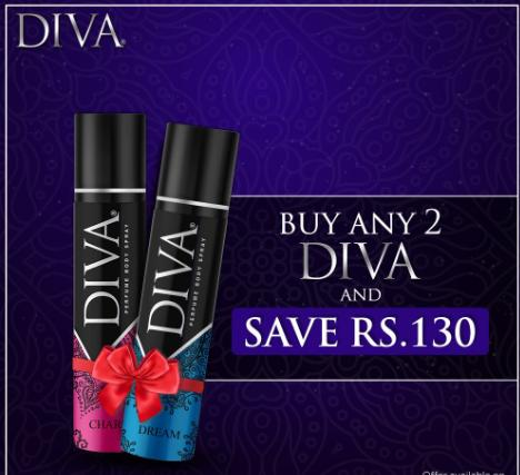 Buy 2 Diva Body Sprays and Save Rs 130