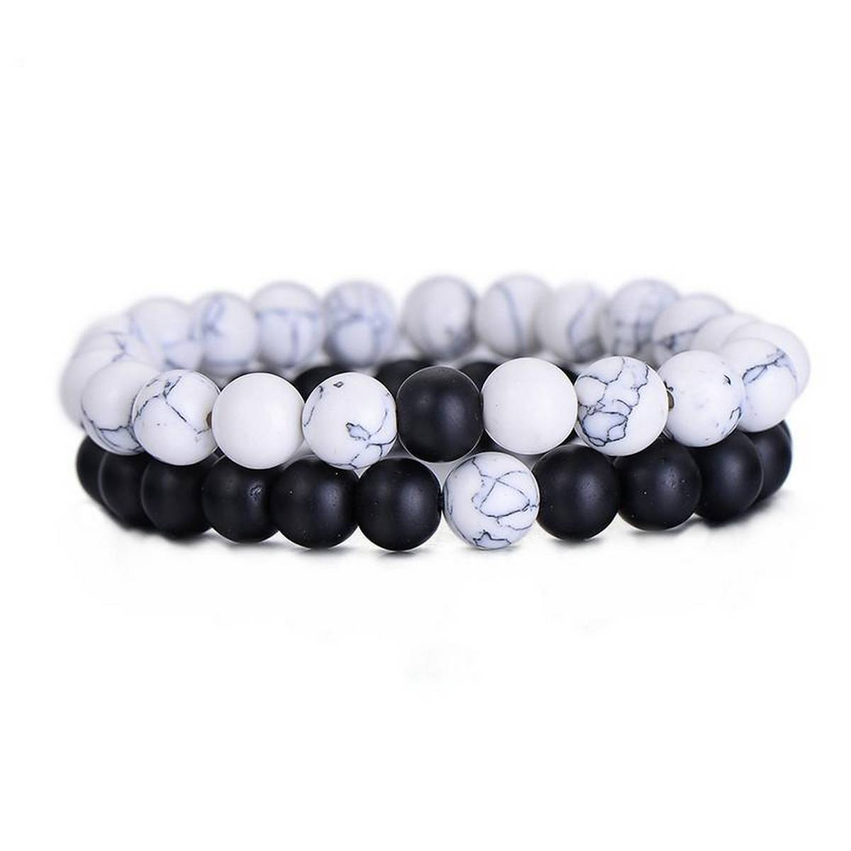 Couples Distance Bracelet Classic Natural Stone White and Black Yin Yang Beaded Bracelets for Men Women Best Friend Hot