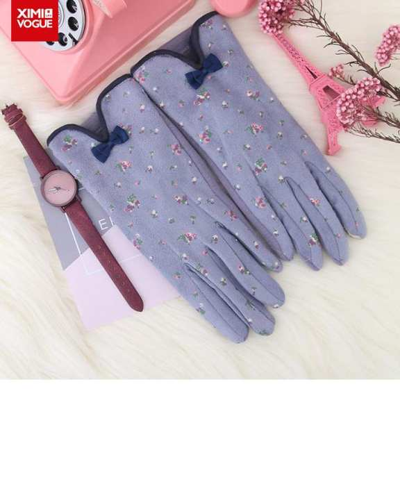 Cold Protection Floral Soft and Comfortable Hand Gloves Super Warmer for Women
