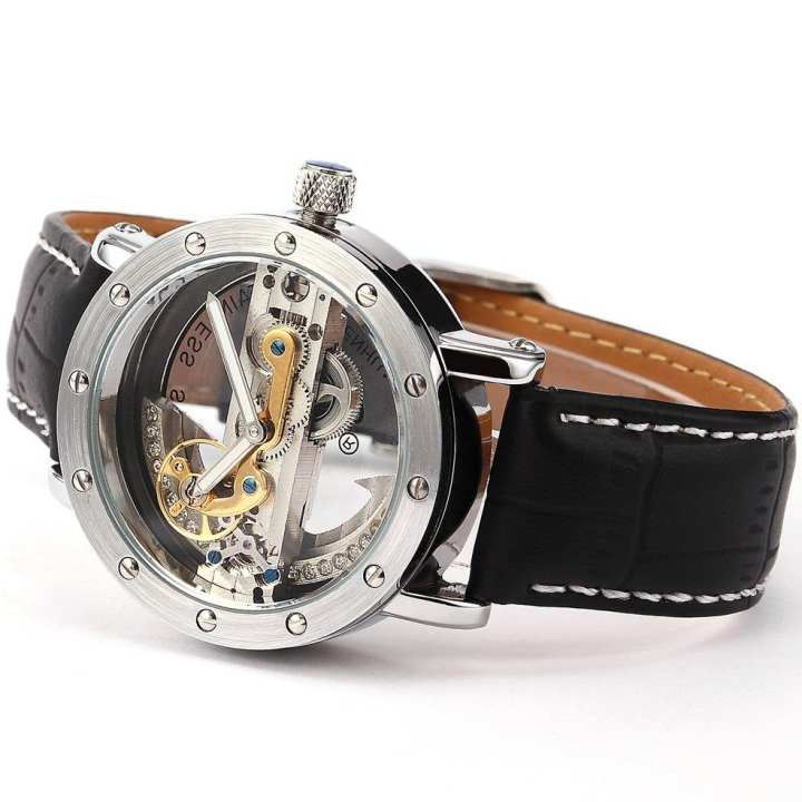Silver Shell Ring Hollow Surface Black Belt Mechanical Watch