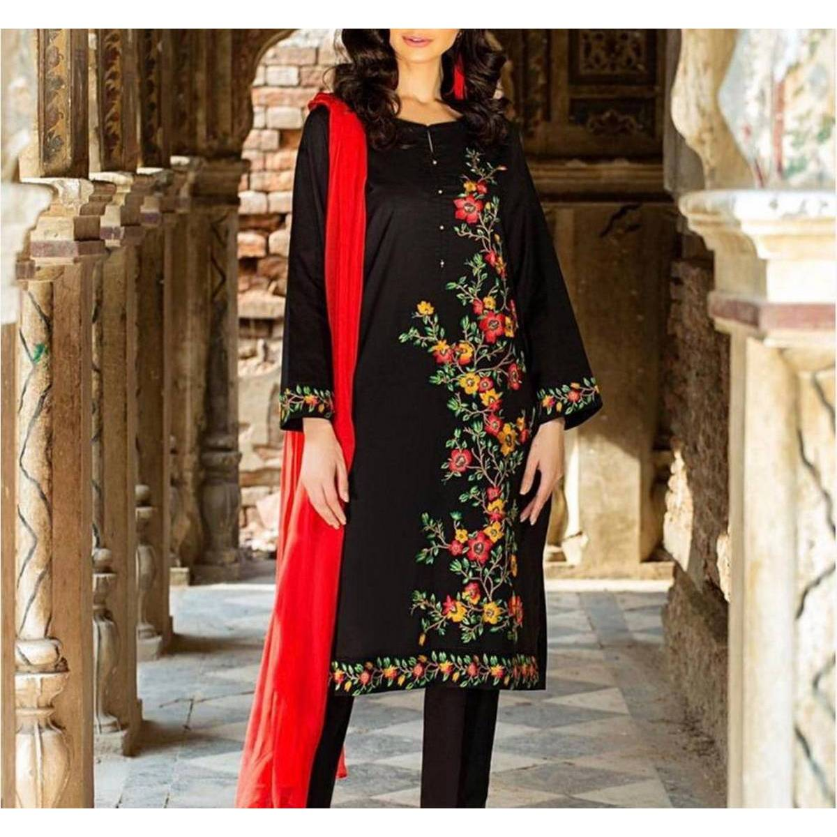 Red Embroidered Dress,red and black dress,