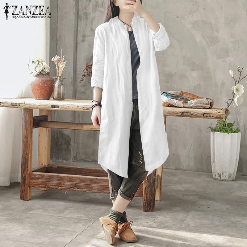 6542ec05633d1 ZANZEA Women s Cotton Ethnic Long Shirt Dress Buttons Down Outwear Blouse  Plus