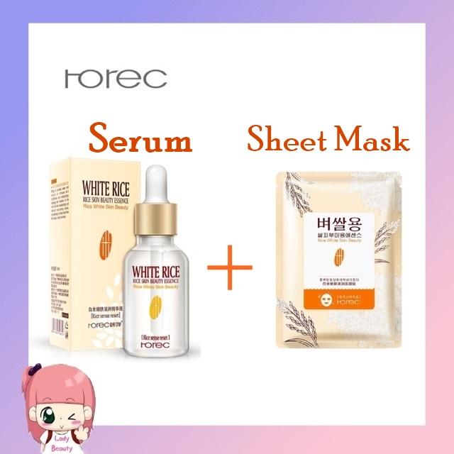 Best Quality White Rice Face Serum, White Rice Sheet Mask, White Rice Serum Face Moisturizing, White Rice Sheet Aging Mask, Anti Wrinkle and Anti Aging Face Skin Care 15ml.