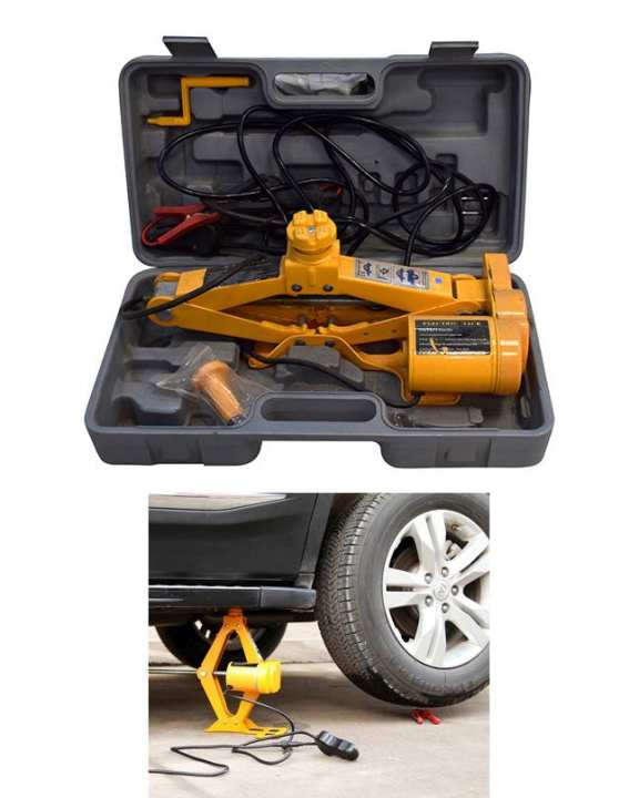 Dextro (12V) MULTIFUNCTIONAL AUTO ELECTRIC HYDRAULIC JACK CAR LIFT TIRE REPAIR TOOL (YELLOW)