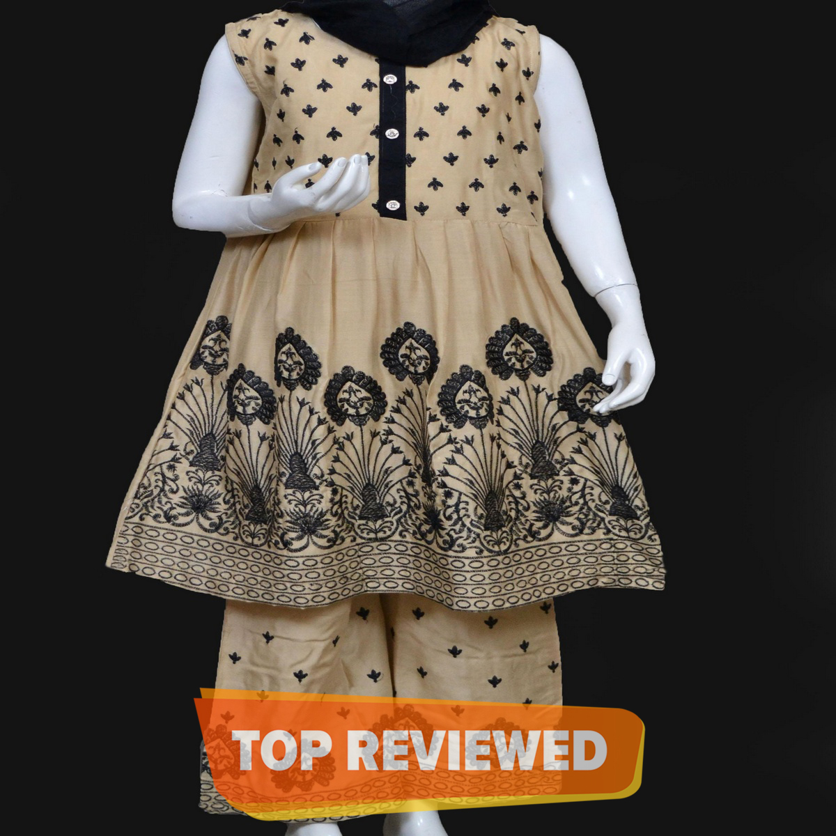 Embroidered Stitched 3 Pc Dress for Girls