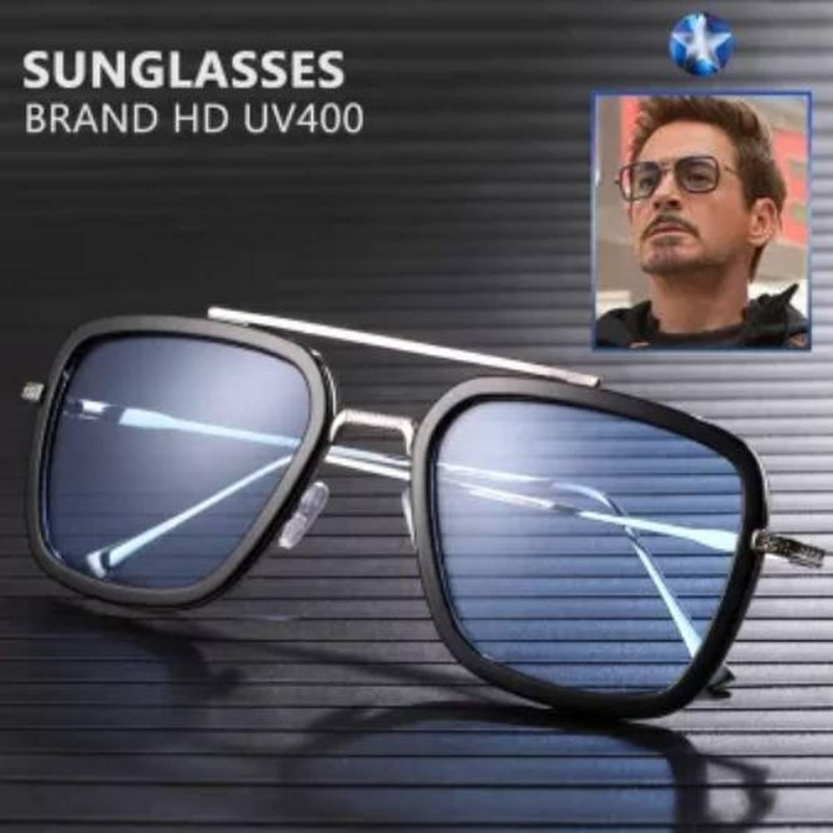 Tony Stark Silver Sunglasses Square Metal Frame shades for Boys & Men