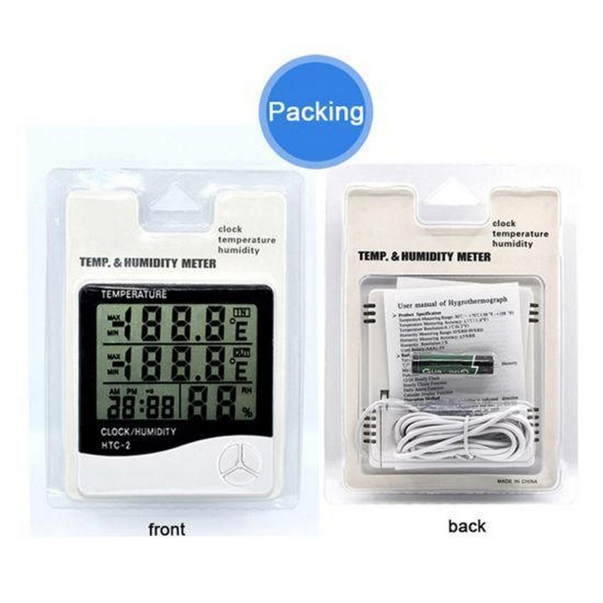 HTC-2 Digital Room Hygrometer Thermometer Clock LCD Indoor/Outdoor Temperature Humidity Meter with sensor