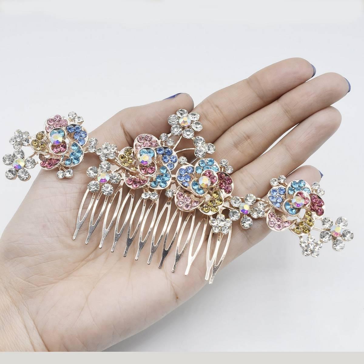 Rhinestone Pearl Bridal Hair Clip Accessories Jewelry Wedding Elegant Crystal Bride Hair Comb Headwear
