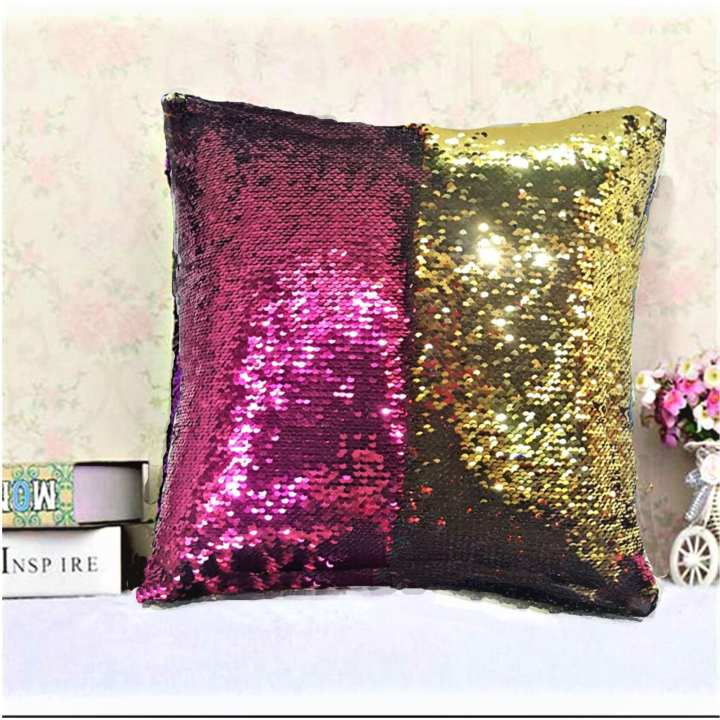 CH  Mermaid Sequin Cushion With Out Filling Cover With Velvet Back