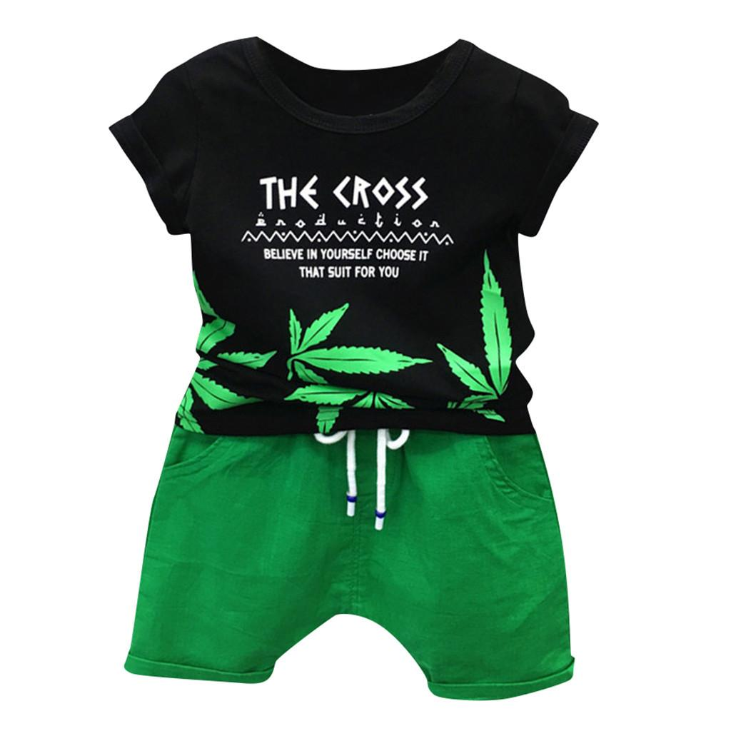 375a20cb9ce3 2019 Toddler Baby Boys Leaf Letter Print Tops Solid Short Pants Outfits  Casual Set