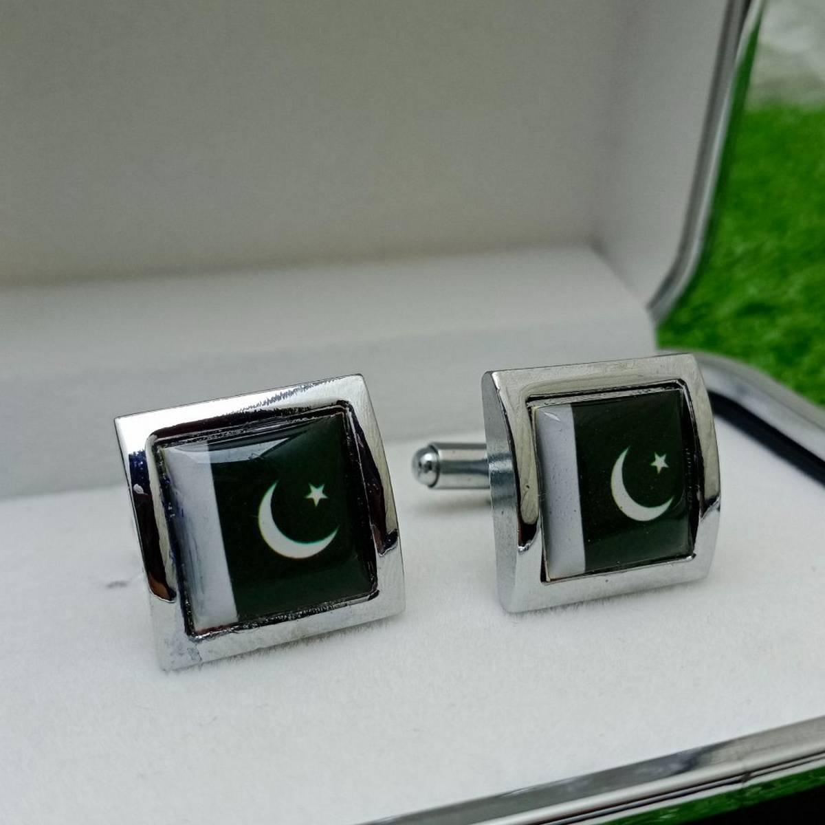 Pakistan Flag Design Cufflink For Men Studs Office Party & Casual Wear