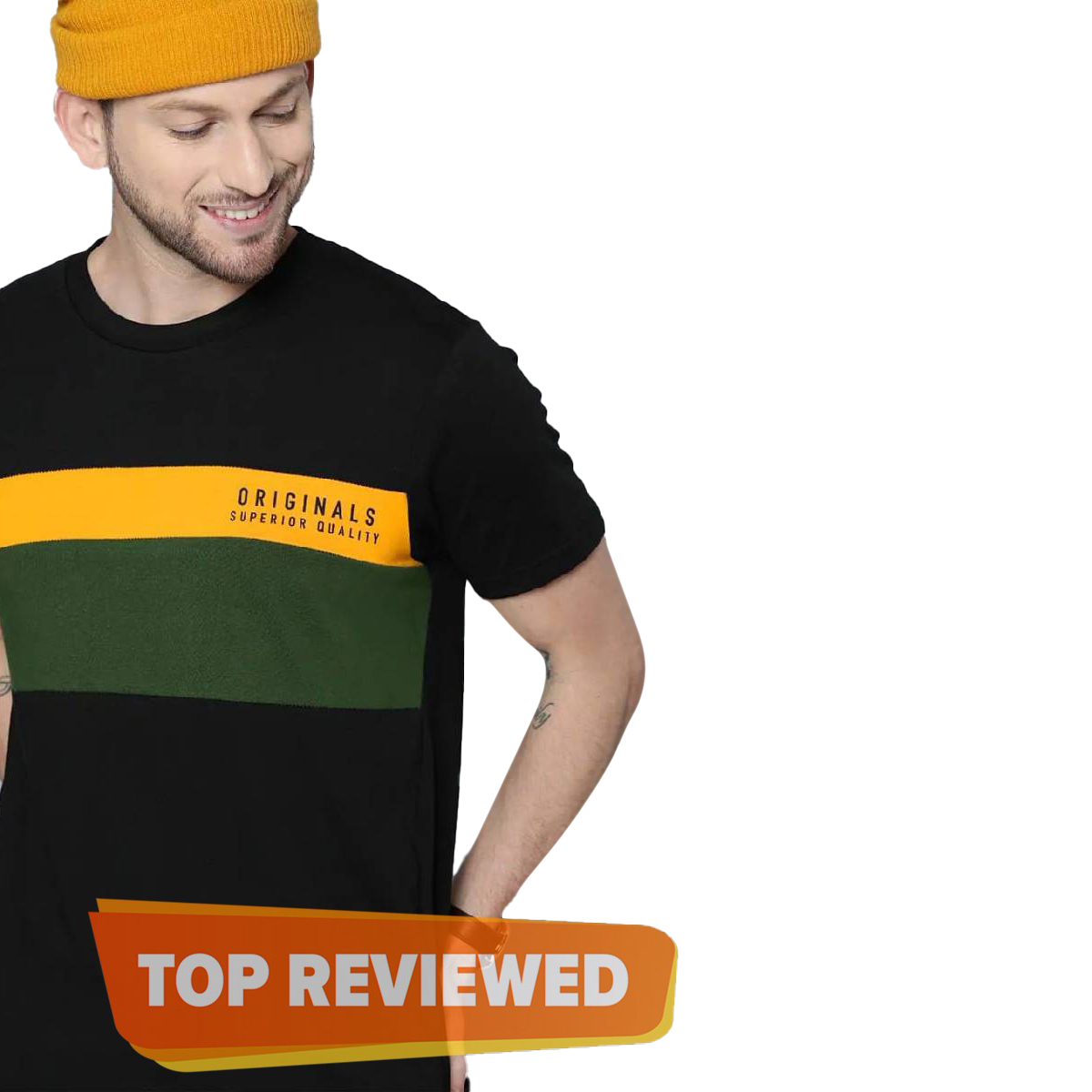 Short Sleeve New Panel Contrast Tshirts For Men