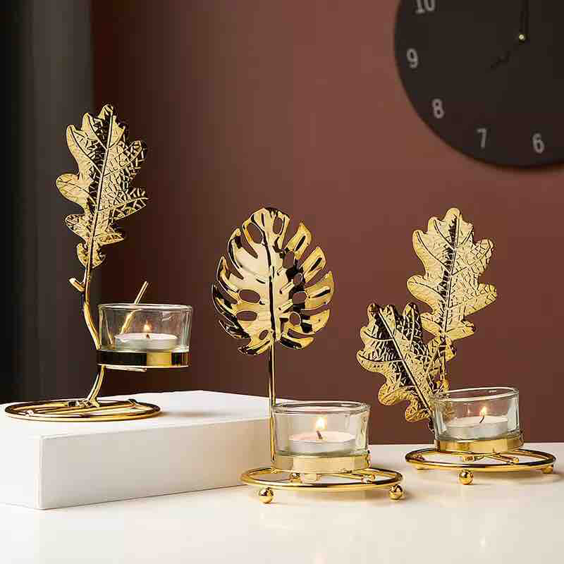 European Golden Iron Candle holder glass Table Decorative candleholder chandelier candle Candlestick centre table centerpieces