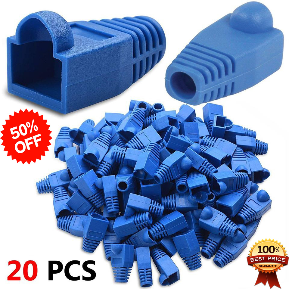 20X RJ45 Connector Strain Relief Rubber Boots Cover Network LAN Ethernet Patch Cable Plug Caps
