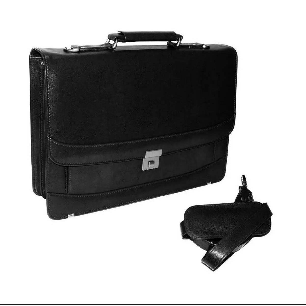 Briefcase Laptop Bag Folder Accessories Leatherette With Number Lock For Office and Travel - Black