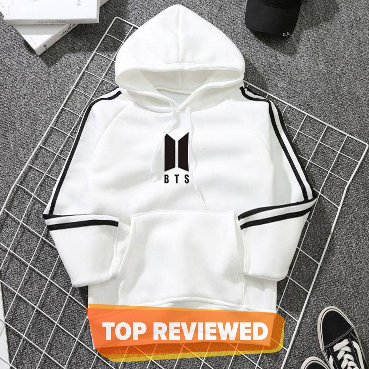 New Arrival BTS Double Strip Sleeves White Fleece Hoodie For Unisex 1123132019