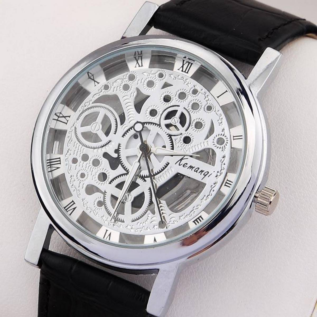 Fashion Quartz Skeleton Watch Men Style Wristwatch Leather Watch
