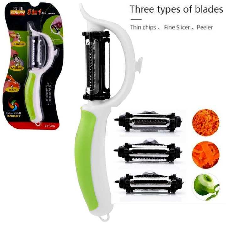 5 in 1 Stainless Steel Fruit Vegetable Peeler Carrot Slicer Potato Rotary Cutter Kitchen Tool