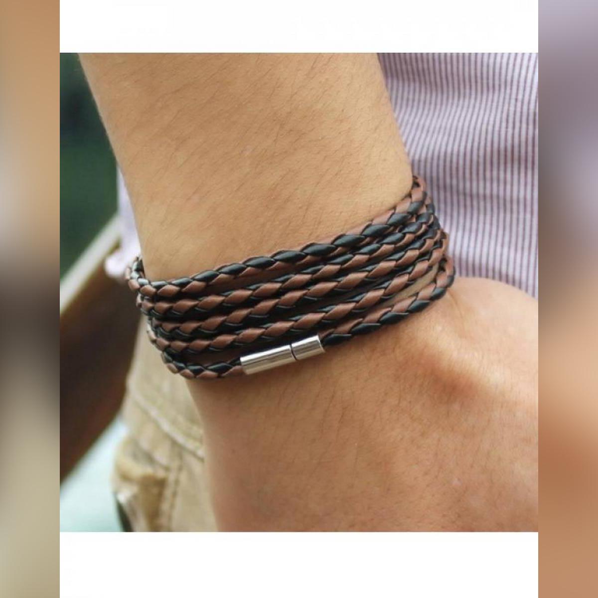Black & Brown PU Leather Rolo Chain Bracelet - TM-Mb-16