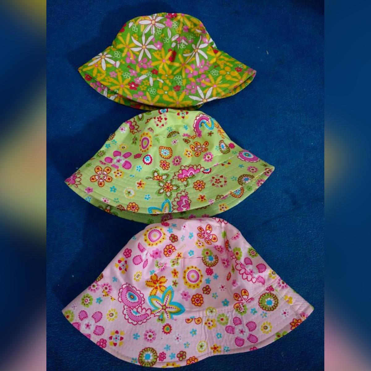 Light Green & Pink  Print Soft  Summer Baby Sun Cap Infant Boys Girls