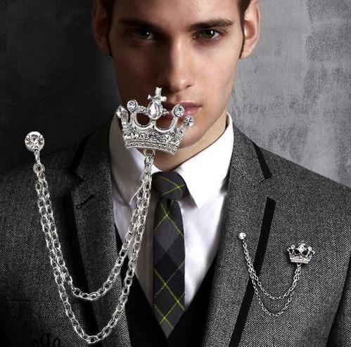 fa4900d9ede The New Lapel Pin Brooch Silver Tassel Chain Crown Brooch Pin