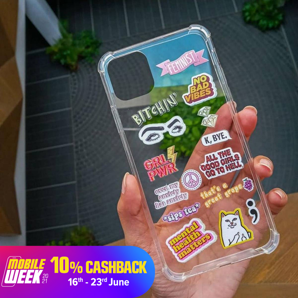 No Bad Vibes Tags Stickers, Printed Transparent Mobile Case, All Models are Available,