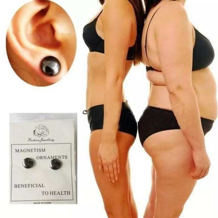 2 Pieces Weight Loss Slim Earrings Magnetic Therapy Healthy Stimulating Acupoints Ear Ring Lazy Slimming Patch