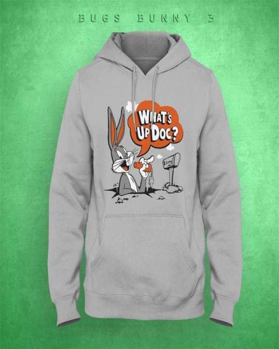 Grey Bugs Bunny 2 Printed Hoodie For Women