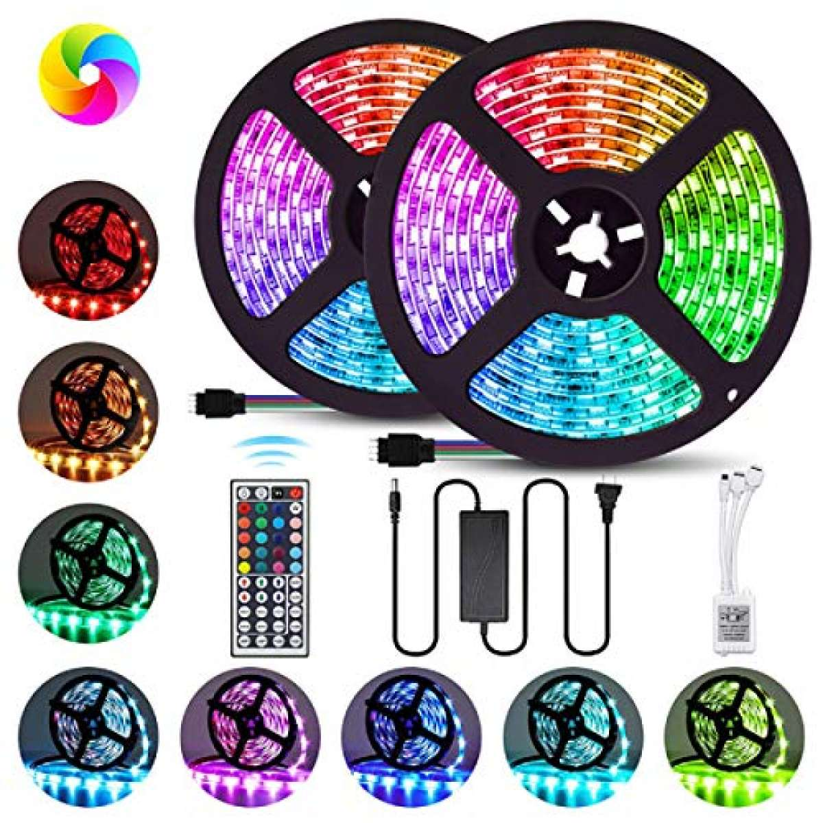 TZ Traders - RGB LED Strip Lights Best Quality 12V ADOPTER Waterproof Remote Control Color Changing 3528 - Complete Kit RGB LED Strip Lights for Party, Living Room, Ceiling, Mirror, Gaming Table, Interior