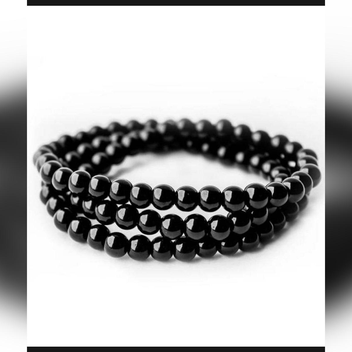 Black Bead Bracelet For Men & Women - Black