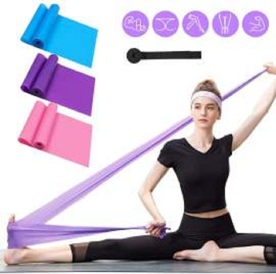 Pack of 3-Professional Latex Elastic Bands for Home or Gym Upper & Lower Body Exercise, Physical Therapy, Strength Training, Yoga, Pilates, Rehab, Blue & Purple & Pink