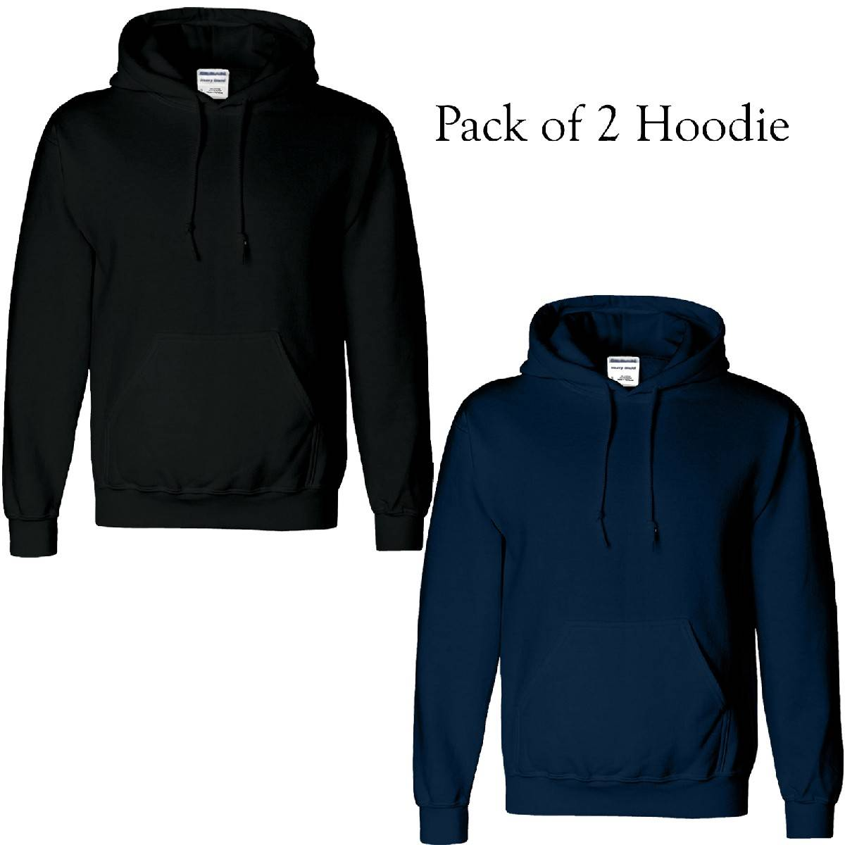 Pack of 2 New Plain Mens Hoodie Polycotton Black Navy Adult Casual Hooded Pullover