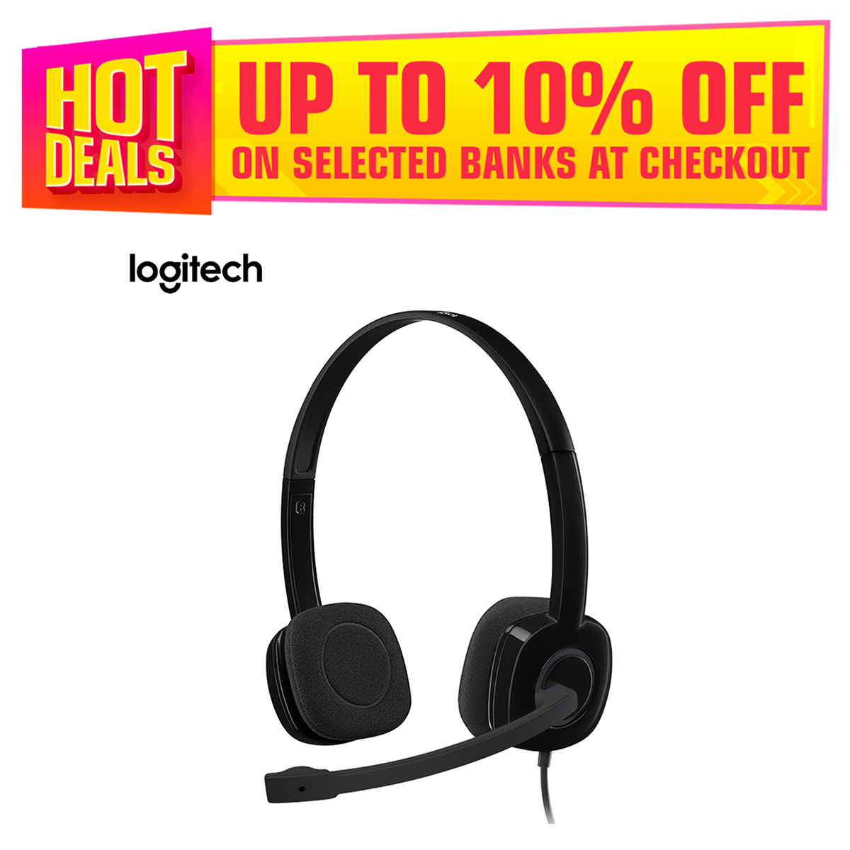 Logitech H151 Stereo Headset with Noise-Cancelling Microphone Single 3.5mm Plug