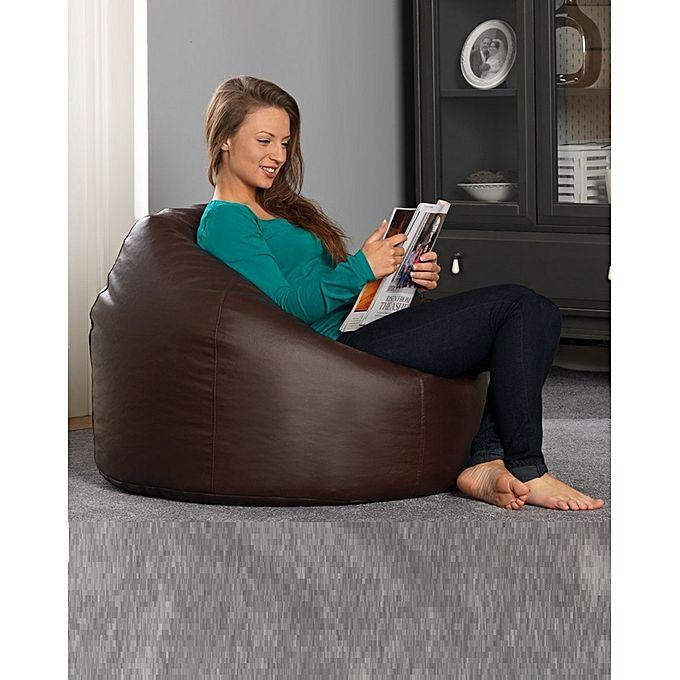 Pleasing Brown Leather Bean Bag Sofa Pabps2019 Chair Design Images Pabps2019Com