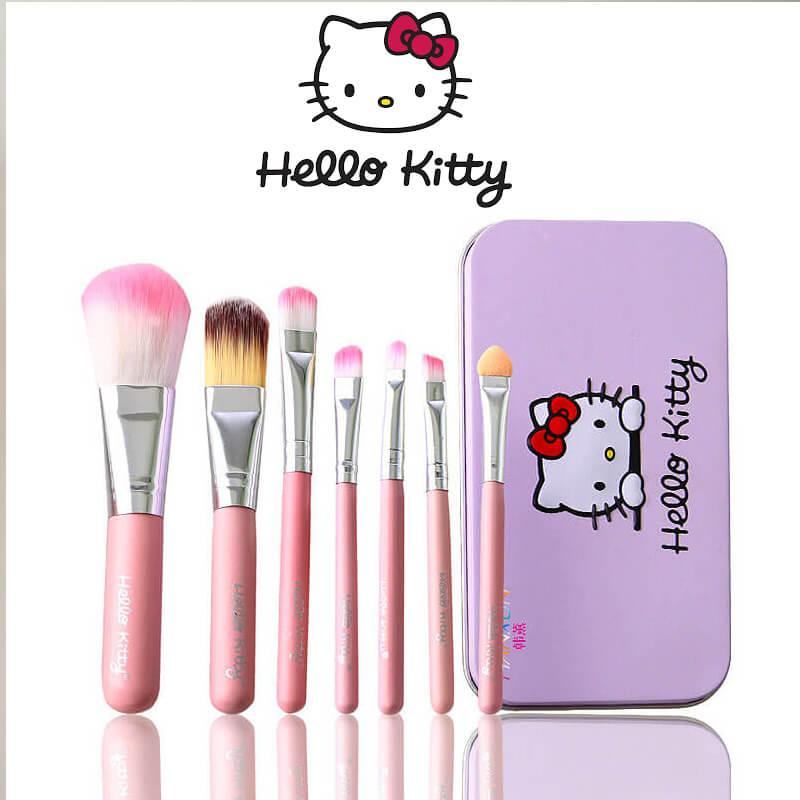 95e463357 Hello Kitty 7 Pcs Mini Makeup brush Set cosmetics kit de pinceis de  maquiagem make up
