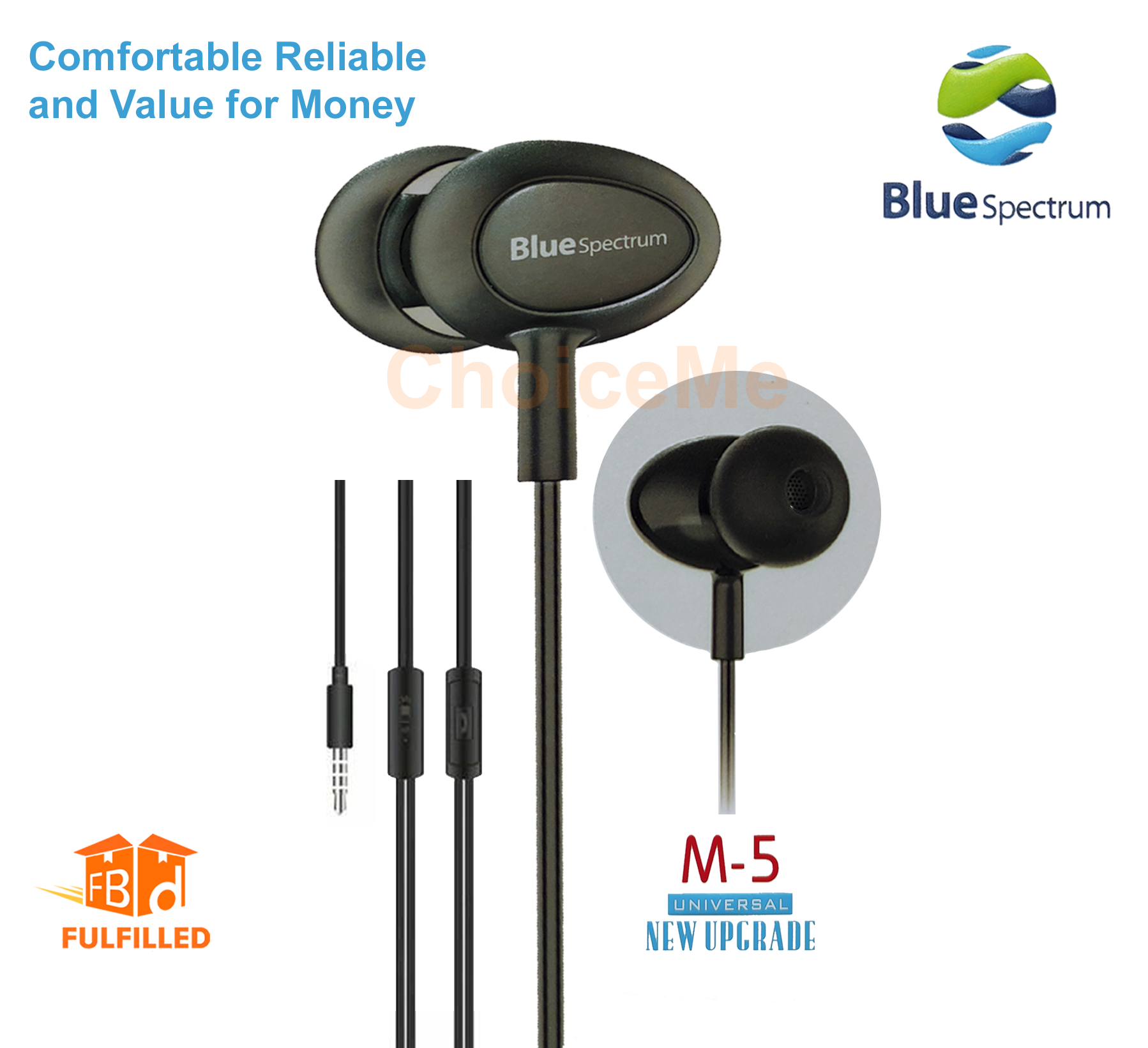 Original Handfree Blue Spectrum M5 Stereo Earphones High Base For All Android Mobile Phones Best for Work from Home / Gaming Handfree / Online Classes
