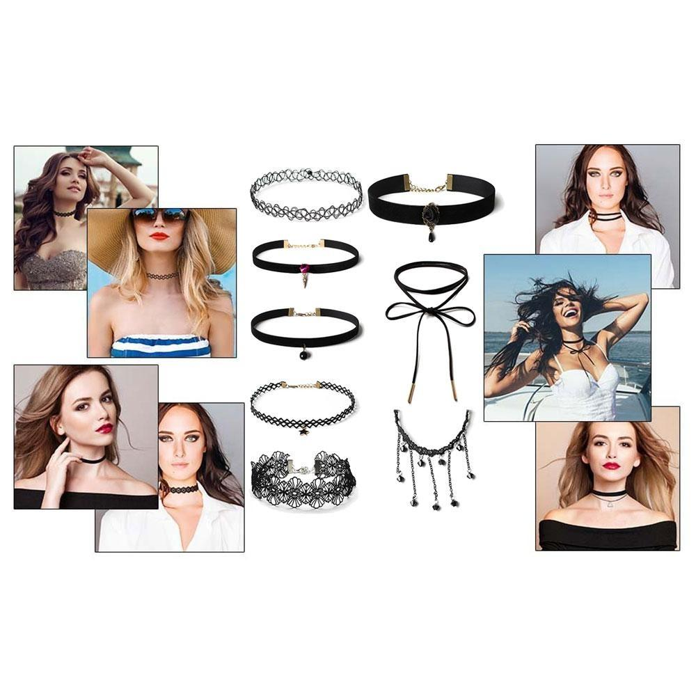 a785a4ee8641e 10 Pieces Lace Choker Necklace For Women Girls, Black Classic Velvet  Stretch Punk Gothic Tattoo Lace
