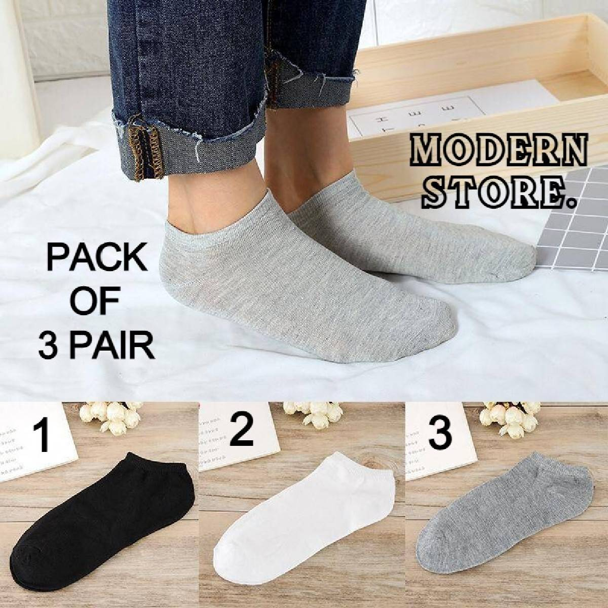 Pack Of 3 - 6 - 9 - 12 Imported Cotton Unisex Ankle Socks