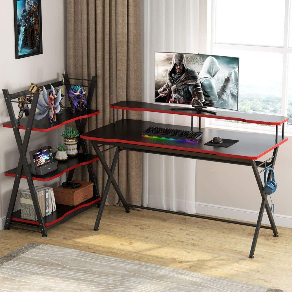 Large Gaming Desk Set 48 inch PC Gaming Table Ergonomic Gamer Computer Desk with Mobile Storage Shelves and Monitor Stand and Headphone Holder