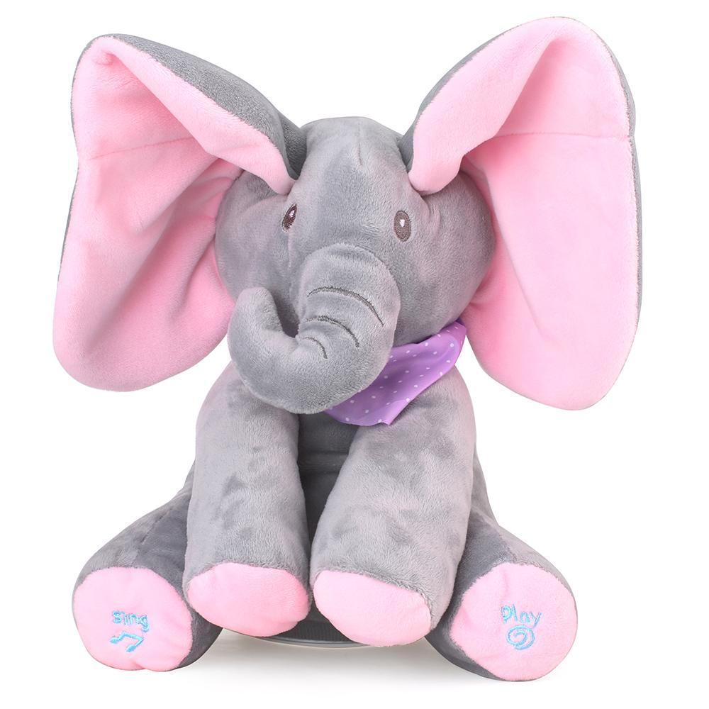 PEEK A BOO ELEPHANT TOYS BABYS ANIMATED FLAPPY PLUSH TOY SINGING STUFFED ANIMALS GRAY PINK