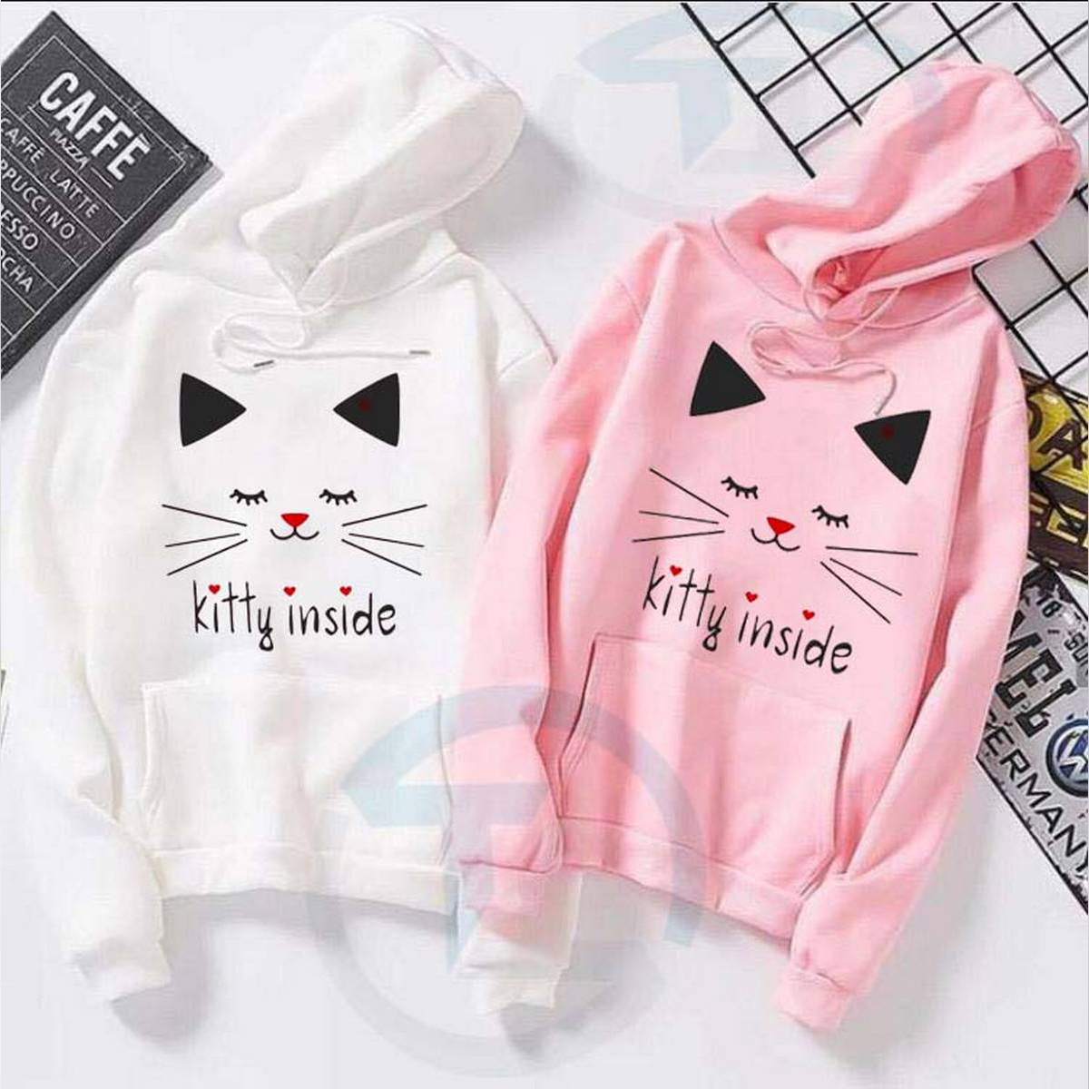Hoddie for girls new and stylish design (Kitty Inside),Winter Wear ,Export Quality , Round Neck