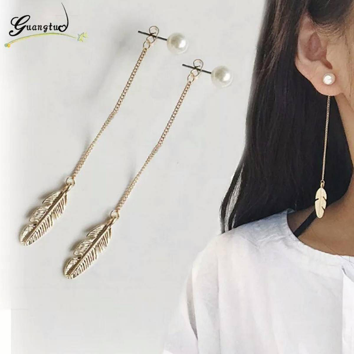New Fashion Vintage Long Chain Tassel Simlated Pearl Leaf Feather Drop Earrings For Women Wedding & Engagement Piercing Jewelry