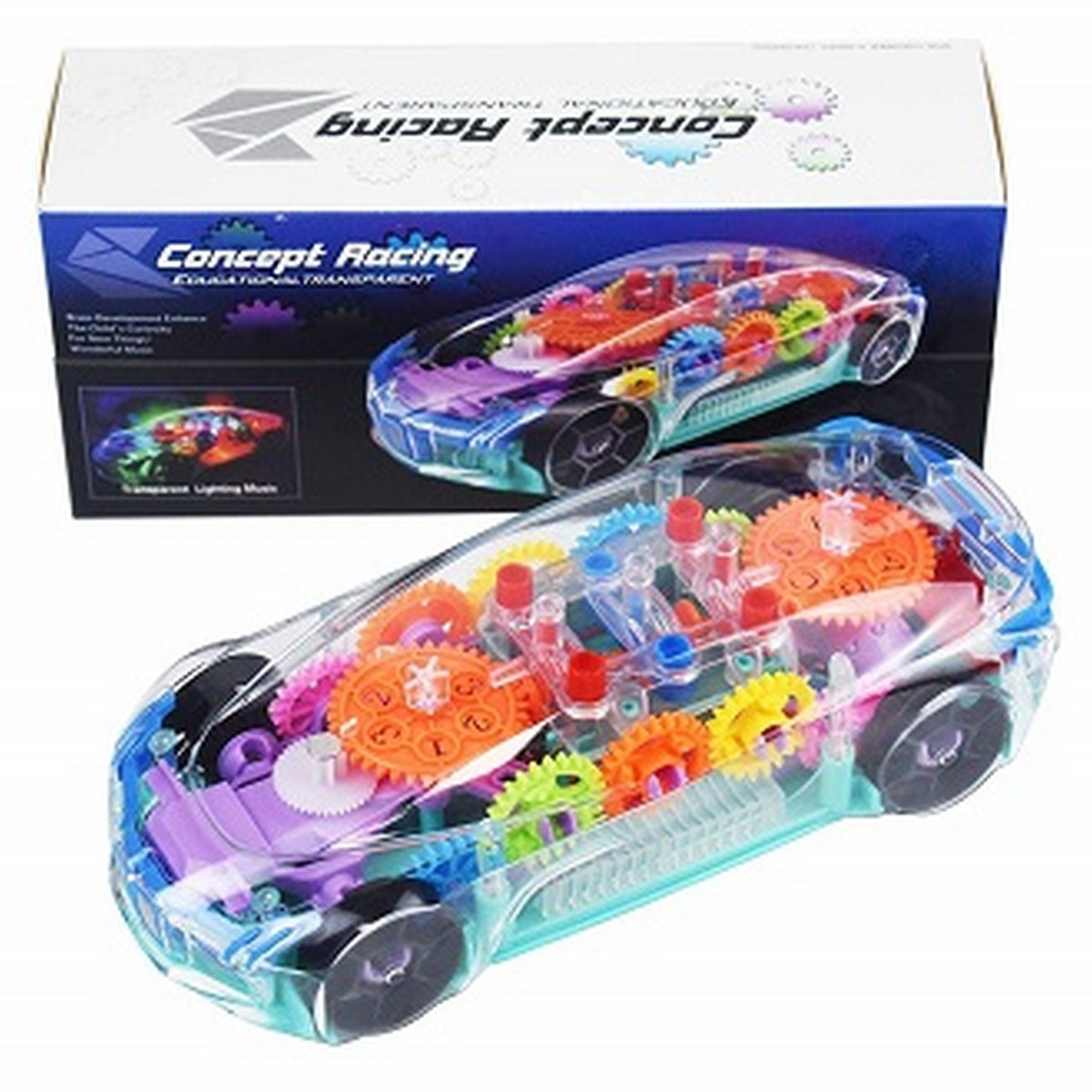 Qualimate Transparent Concept Racing Car with 3D Flashing Led Lights Musical Car for Kids
