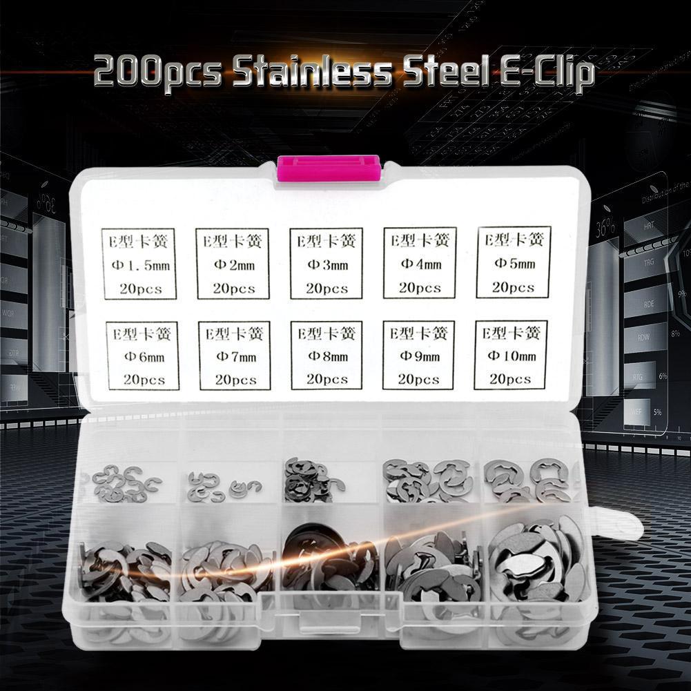 Ochoos 200pcs Stainless Steel E-Clip E-Ring Retaining Ring Assortment M1.5-M10