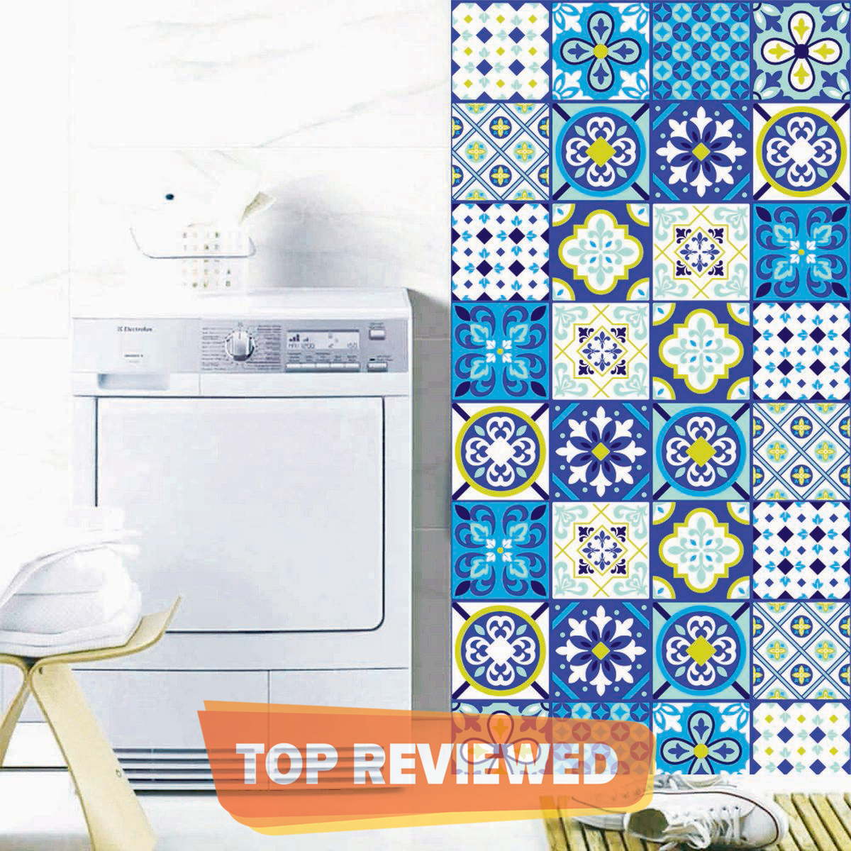 Tile Stickers  Blue Pack of 12 pieces for Home Decor for Walls Self Adhesive Tile Sticker 4.4 in by 4.4 in (12 Pieces)