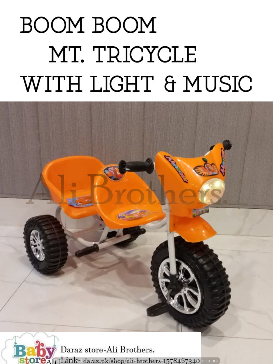 Orange Tricycle with Lights & Music In Double Seat