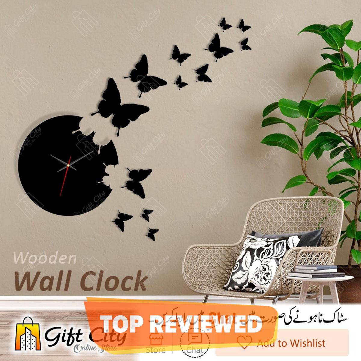 Flying Butterflies Wooden Wall Clock, 3D Modern Clock, Laser Cut Clock, Wall Clock