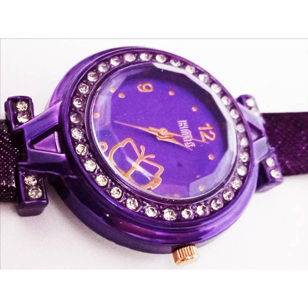 watch for Women and Girls Purple Round Diamond Style